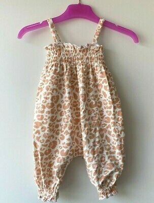 £6.95 • Buy MOTHERCARE Girls Baby Romper MY K Summer Jumpsuit Coral Pink Leopard Print BNWT