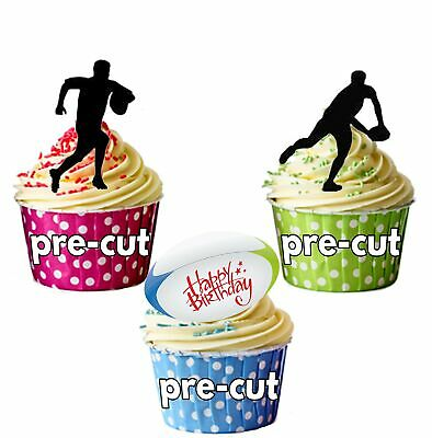 £15.99 • Buy PRECUT Happy Birthday Silhouette Rugby Players -Edible Cupcake Toppers/Cake D...