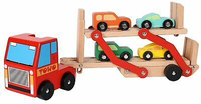 $ CDN72.18 • Buy TOWO Wooden Car Transporter Toy Double Decker Trailer With 4 Cars Ramp Racer ...
