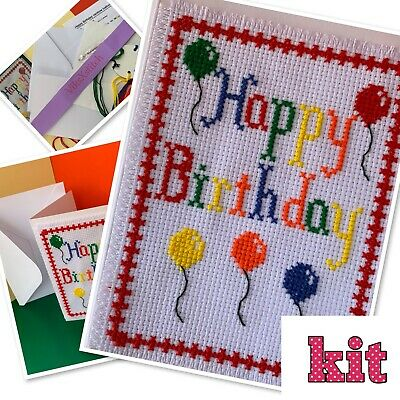 £7.50 • Buy Cross Stitch Kit Happy Birthday Card Rainbow Balloons Incl. Card A6