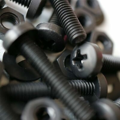 20 X Black Pan Head Screws Polypropylene (PP) Plastic Nuts And Bolts, Washers... • 24.99£
