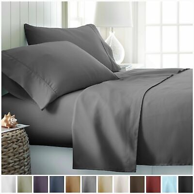 AU23.99 • Buy 4 Pieces Luxury Ultra SOFT Bed Flat & Fitted Sheet Set Single/Double/Queen/King