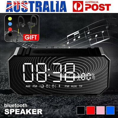 AU18.64 • Buy LED Mirror Digital USB Clock  Digital Alarm Bluetooth Speakers MP3 FM FM Radio