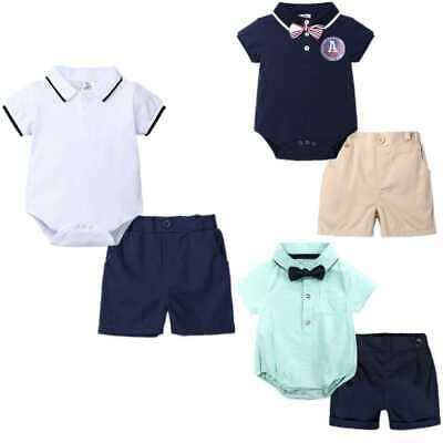 £11.89 • Buy Kids Baby Boys Suit Short Sleeve Polo Shirt Top Rompers Shorts Casual 2PCS Set