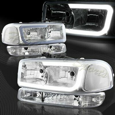 $159.99 • Buy For 1999-2006 GMC Sierra 1500 2500 G2 DRL LED Chrome Clear Headlights+Bumper 4PC
