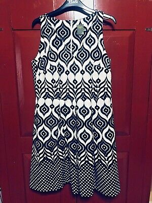 AU160.34 • Buy NEW TAYLOR ANTHROPOLOGIE Size 8 Black White Cotton Fit Flare Party Dress