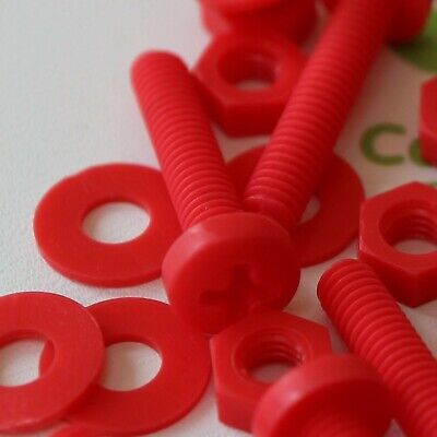 20 X Red Pan Head Screws Polypropylene (PP) Plastic Nuts And Bolts, M4 X 40mm... • 25.99£