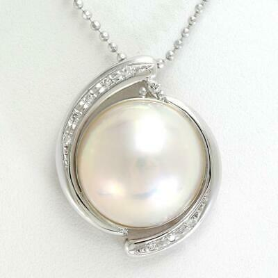 $449 • Buy Jewelry 14K White Gold Necklace Mabe Pearl Diamond Free Shipping Used