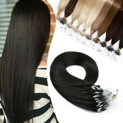 £63.99 • Buy 1g Human Hair Extensions Real Remy Hair Micro Ring Loop Beads Straight - 50 S...