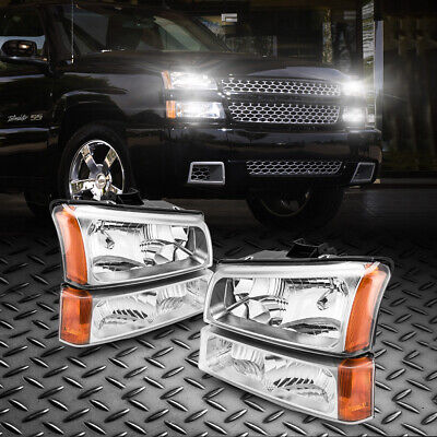 $68.96 • Buy Fit 03-06 Chevy Silverado/Avalanche Black Housing Amber Side Headlights Assembly