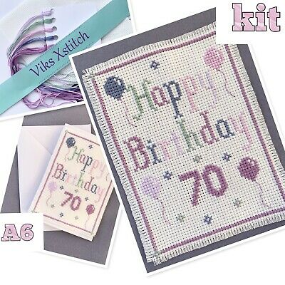 £7.50 • Buy Cross Stitch Kit Happy Birthday Card 70th Incl. Card A6