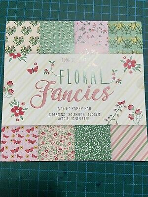£5.95 • Buy Love To Craft Floral Fancies Design Paper Pad 6 X 6 24 Sheets Flowers Butterfly