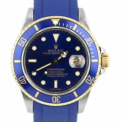 $ CDN10644.03 • Buy 1987 Rolex Submariner 16803 Two-Tone Gold Stainless Steel Blue Rubber 40mm Watch