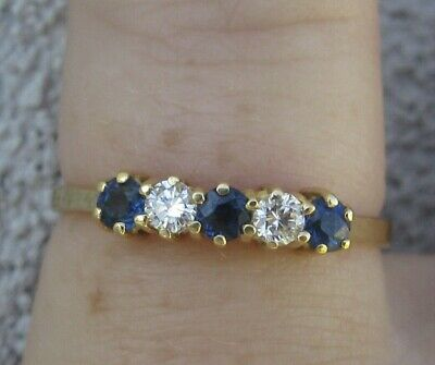 AU349.90 • Buy $ 1,550 Natural Sapphires Diamonds 18k Yellow Gold Ring Or Stacking Band.