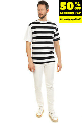 FRANKLIN & MARSHALL T-Shirt Top Size M Striped Contrast Sleeve Made In Italy • 0.99£