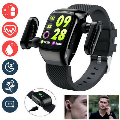 AU61.81 • Buy SmartWatch With TWS Bluetooth Headsets Music Sports Fitness Watch Blood Pressure
