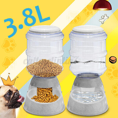 3.8L Automatic Pet Food Drink Dispenser Dog Cat Feeder Water Bowl Dish UK Stock • 11.59£