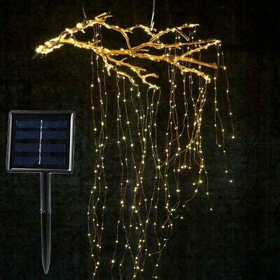 LED Solar Powered Vines Branch Waterfall Lights Wire String Lights Decoration • 9.86£