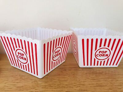 New Pack Of 2 Large Plastic Popcorn Holder Food Grade Plastic Party/Picnic Use • 6.40£