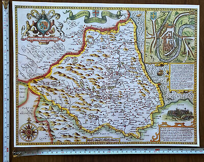£9.99 • Buy Old Tudor Poster Picture Map Of Durham Speed 1600's 15  X 12 Reprint Antique