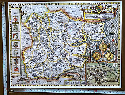 £9.99 • Buy Old Tudor Poster Picture Map Of Essex Speed 1600's 15.5  X 12 Reprint Antique