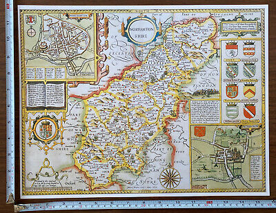 £9.99 • Buy Old Tudor Poster Map Of Northamptonshire Speed 1600's 15.5  X 12 Reprint Antique