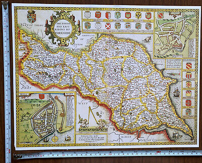 £9.99 • Buy Old Tudor Poster Map North East Yorkshire Speed 1600s 15.5  X 12 Reprint Antique