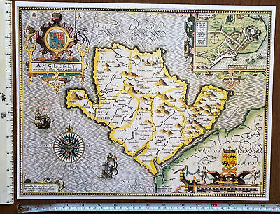 £9.99 • Buy Old Tudor Poster Map Anglesey, Beaumaris, Wales 1600s 15.5  X 12 Reprint Antique
