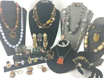 $ CDN31.38 • Buy Vintage Natural Stone Jewelry Lot~Coldwater Creek~Jade~Stone Earth Jewelry Lot