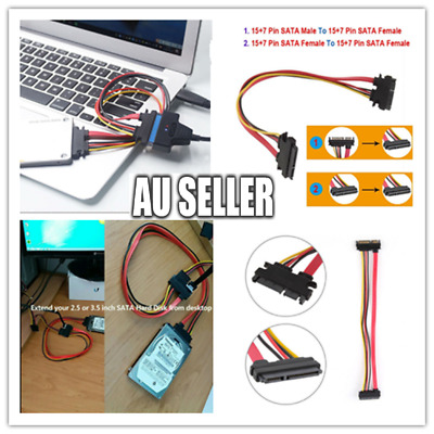 AU7.99 • Buy SATA 22Pin 7P+15P SATA Data Power Combo Extension Cable Male To Female  50CM