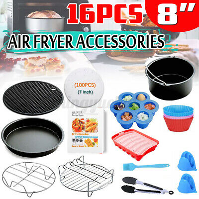 AU23.99 • Buy 8'' Inch Air Fryer Accessories Frying Cake Pan BBQ Rack Pot Pizza Tray Cage Oven
