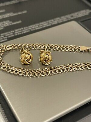 AU112.55 • Buy 9ct Gold Bracelet & Earrings Knot Style Weigh 3.27grams Scrap Or Use