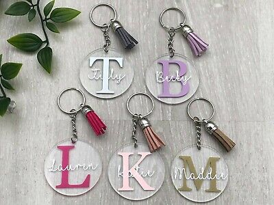 £3.50 • Buy Personalised Keyring, Name And Initial, Acrylic Keychain, Gift, Personal