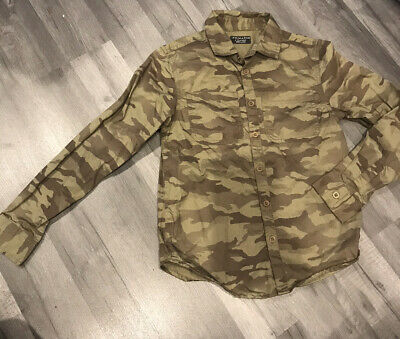 Boys Primark Army Camo Button Up Long Sleeve Shirt Age 9-10 Years BNWOT • 1.99£