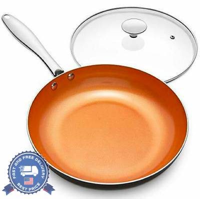 $38.84 • Buy Small Copper Skillet Frying Pan With Ceramic Titanium Coating & Lid For Kitchen
