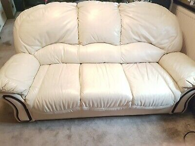 3 Piece Cream Leather Suite With Pouffe • 100£