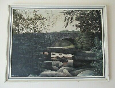 £125 • Buy Large Old 60's Dartmeet Dartmoor Oil Painting DAVID J LAWRENCE Listed Framed