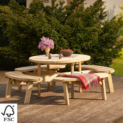 £669.99 • Buy Harrier Round Wooden Picnic Bench | PICNIC TABLE AND BENCH SET – Pub Bench Table