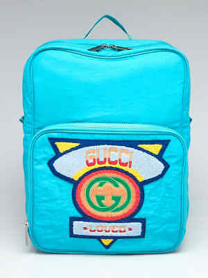 AU1077.28 • Buy Gucci Teal Nylon 80's Patch Backpack Bag