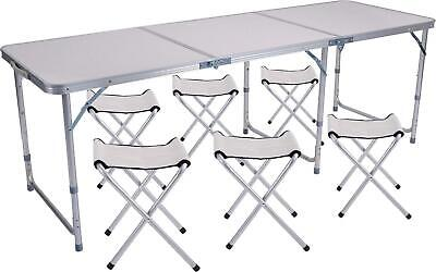 £110.66 • Buy Sunflo Folding Table 6FT With 6 Chairs Portable Adjustable Height Camping Table