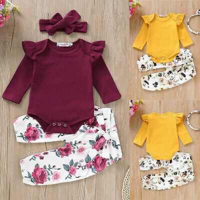 AU17.05 • Buy Newborn Baby Girl Romper Tops Jumpsuit Floral Pants Headband Clothes Outfits Set