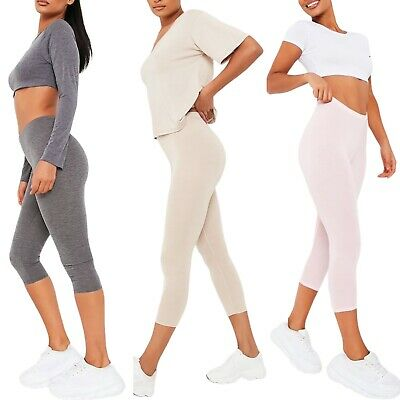 Womens 3/4 Cropped :Leggings Slim Plus Size Trousers Summer Capri Pants Stetchy • 6.50£