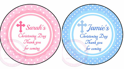£2.25 • Buy Personalised Boy Girl Blue Pink Christening Stickers Party Sweet Cone Cake Box
