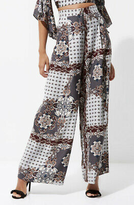 River Island Grey Scarf Print High Waisted Wide Leg Palazzo Trousers In Size 12. • 36£