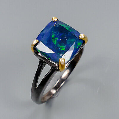 Black Opal Ring Silver 925 Sterling AAA+ Fine Blue Recommend Size 8.75 /R147994 • 10.31£