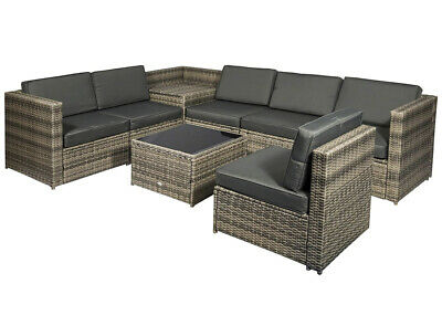 8 Pcs Rattan Garden Furniture Patio Sofa And Table Set With Cushions 6 Seater  • 1,600£