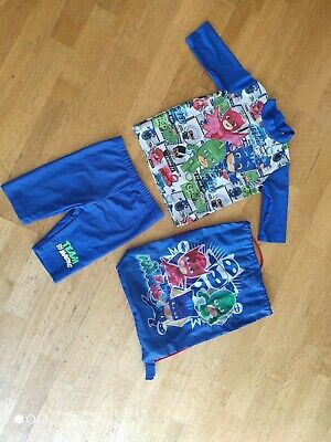 Tu PJ Masks Blue Swimming Swim Shorts Costume Age 4 Years Owlette Gecko Catboy • 4.99£