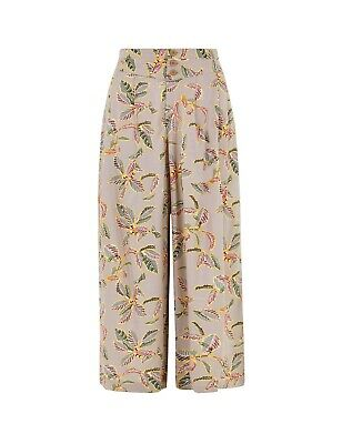 £9.99 • Buy LADIES EX Marks & Spencer PALM PRINT WIDE LEG CROPPED TROUSERS CULOTTES M&S COLL