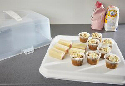 CAKE BOX CUPCAKE PORTABLE Tub Carry Carrier Storage Container Pretension Square  • 10.75£