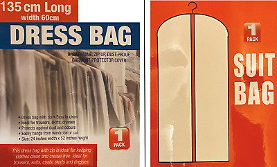 £2.90 • Buy Dress Suit Coat Travel Bag And Clothes Cover Dust Proof Storage With Zip & Large